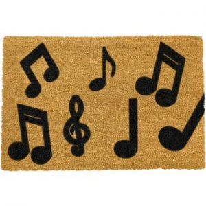Covoras intrare din fibre de cocos Artsy Doormats Music Notes, 40 x 60 cm