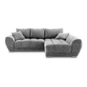 Canapea extensibila cu invelis de catifea Windsor & Co Sofas Nuage, pe partea dreapta, gri
