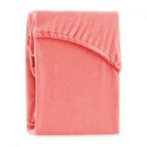 Cearsaf elastic pentru pat dublu AmeliaHome Ruby Coral, 180-200 x 200 cm, corai