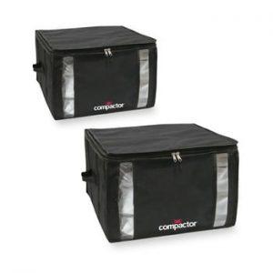 Set 2 cutii de depozitare cu vid Compactor Black Edition Medium, 40 x 25 cm, negru