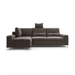 Canapea extensibila cu invelis de catifea Windsor & Co Sofas Diane, pe partea stanga, maro inchis