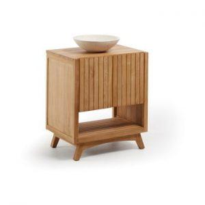 Dulap de baie din lemn de tec cu chiuveta La Forma, latime 70 cm