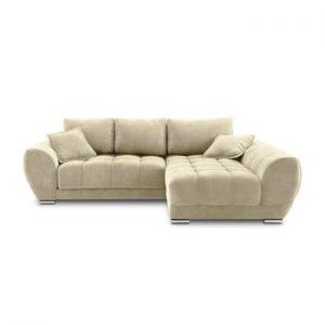 Canapea extensibila cu invelis de catifea Windsor & Co Sofas Nuage, pe partea dreapta, bej