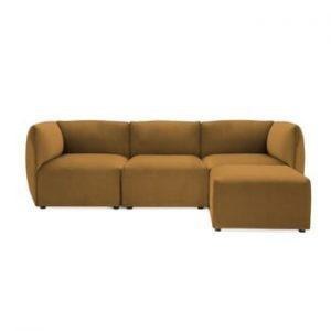 Canapea modulara cu 3 locuri si suport pentru picioare Vivonita Velvet Cube, galben mustar