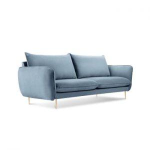 Canapea cu tapiterie din catifea Cosmopolitan Design Florence, albastru pal