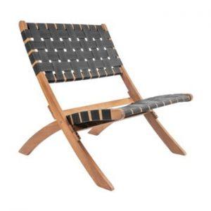 Scaun din lemn de salcam Leitmotiv Weave, negru