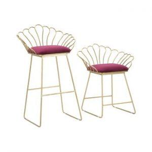 Set 2 scaune bar Mauro Ferretti Flower, auriu-rosu