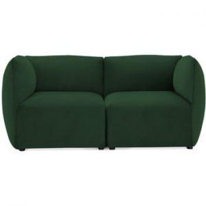 Canapea modulara cu 2 locuri Vivonita Velvet Cube, verde smarald