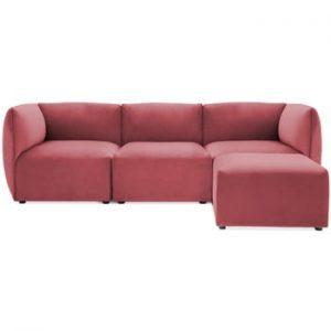 Canapea modulara cu 3 locuri si suport pentru picioare Vivonita Velvet Cube, rosu - roz