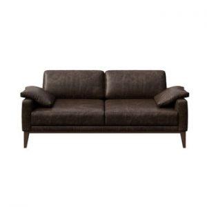 Canapea din piele cu 2 locuri MESONICA Musso, maro inchis