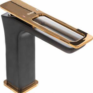 Baterie pentru lavoar Rune Soho negru mat auriu