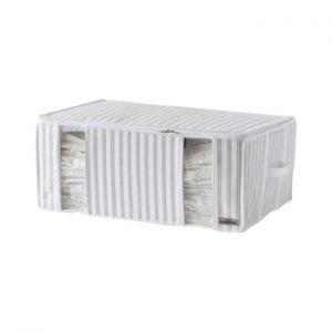 Cutie pentru depozitare cu vacuum Compactor Stripes, gri - alb