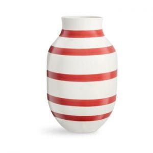 Vaza din ceramica Kähler Design Omaggio, inaltime 31 cm, alb-rosu