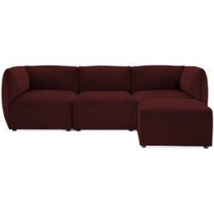 Canapea modulara cu 3 locuri si suport pentru picioare Vivonita Velvet Cube, visiniu
