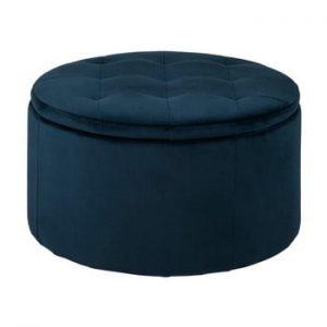 Otoman cu spatiu pentru depozitare Actona Vic, ⌀ 60 cm, albastru inchis