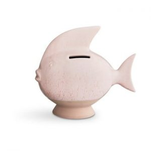 Pusculita din gresie Kähler Design Moneybank Fish, roz