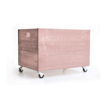 Ladita rustica din lemn Really Nice Things Wheels, roz