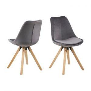 Set 2 scaune Actona Damia Velvet, gri