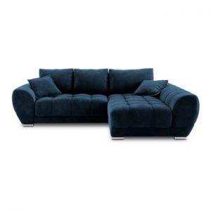 Canapea extensibila cu invelis de catifea Windsor & Co Sofas Nuage, pe partea dreapta, albastru