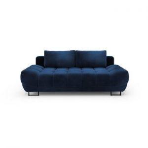 Canapea extensibila cu invelis de catifea cu 3 locuri Windsor & Co Sofas Cirrus, albastru inchis