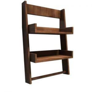 Raft de perete din lemn de pin Aso, maro