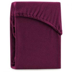 Cearsaf elastic pentru pat dublu AmeliaHome Ruby Dark Cherry, 180-200 x 200 cm, visiniu inchis