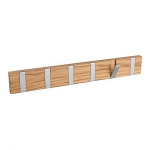 Cuier din lemn de stejar natural cu 6 carlige Rowico Odin