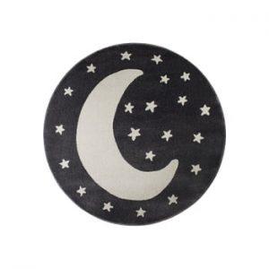Covor rotund KICOTI Moon, ø 80 cm, negru-alb