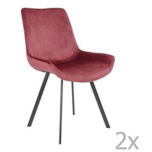 Set 2 scaune dining House Nordic Drammen, rosu