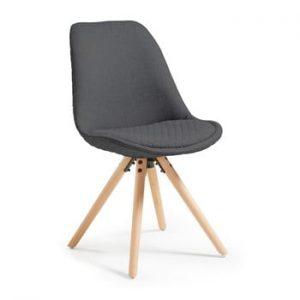 Scaun cu picioare din lemn La Forma Lars, gri inchis