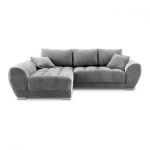Canapea extensibila cu invelis de catifea Windsor & Co Sofas Nuage, pe partea stanga, gri inchis