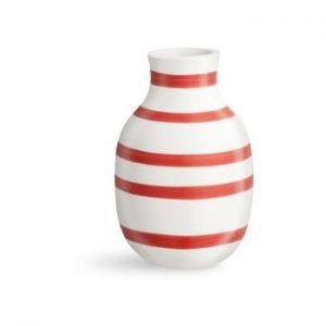 Vaza din ceramica Kähler Design Omaggio, inaltime 12,5 cm, alb-rosu