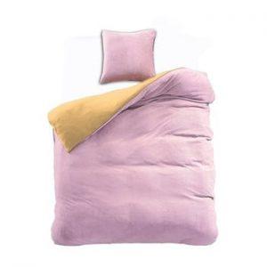 Lenjerie reversibila din microfibra DecoKing Furry, 135x200cm, roz-galben