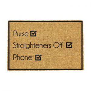 Covoras intrare din fibre de cocos Artsy Doormats Purse Straighteners Phone 40 x 60 cm