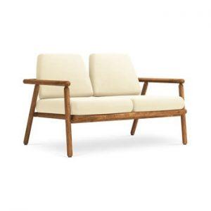 Canapea cu 2 locuri pentru exterior, constructie lemn masiv de salcam Calme Jardin Capri, bej