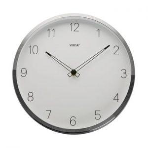 Ceas de perete Versa Halga, ⌀ 30 cm, alb-argintiu
