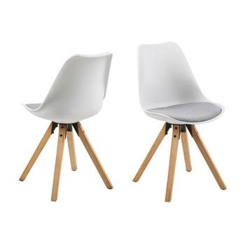 Set 2 scaune Actona Damia, alb - gri