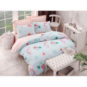Lenjerie si cearsaf din amestec de bumbac pentru pat dublu Flamenco Mint, 200 x 220 cm