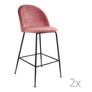 Set 2 scaune bar tapitate House Nordic Lausanne, roz-negru