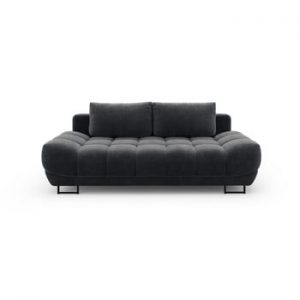 Canapea extensibila cu invelis de catifea cu 3 locuri Windsor & Co Sofas Cirrus, gri inchis