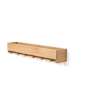 Polita din lemn de stejar cu carlige pentru paharele de vin Wireworks