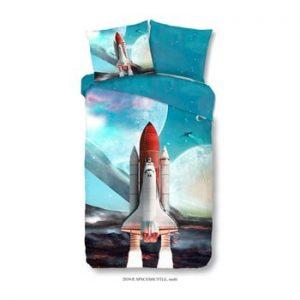 Lenjerie din bumbac pentru copii Muller Textiels Space Shuttle, 140 x 200 cm