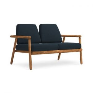 Canapea cu 2 locuri pentru exterior, constructie lemn masiv de salcam Calme Jardin Capri, albastru marin