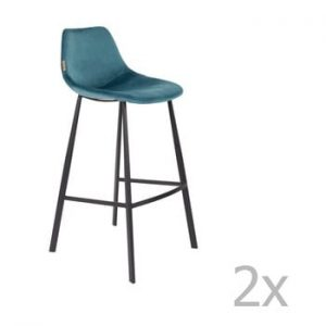 Set 2 scaune bar cu tapiterie catifelata Dutchbone, inaltime 106 cm, albastru petrol