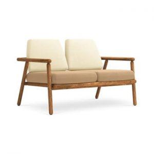 Canapea cu 2 locuri pentru exterior, constructie lemn masiv de salcam Calme Jardin Capri, bej - bej inchis
