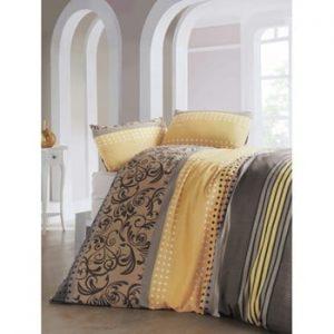 Lenjerie si cearsaf din amestec de bumbac pentru pat dublu Miranda Yellow, 200 x 220 cm