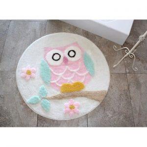 Covoras de baie Alessia Owl Ecru, Ø 90 cm