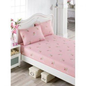 Set cearsaf si 2 fete de perna Lunteo Lusno, 160 x 200 cm, roz