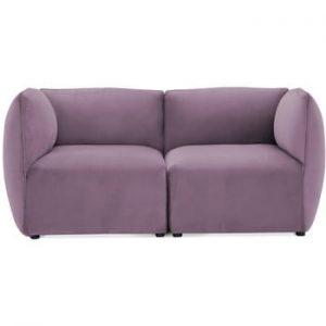Canapea modulara cu 2 locuri Vivonita Velvet Cube, mov lila