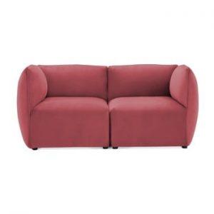 Canapea modulara cu 2 locuri Vivonita Velvet Cube, rosu - roz